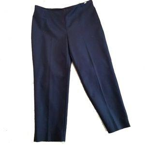 St John Women Crop Dress Pants Navy Blue Twill
